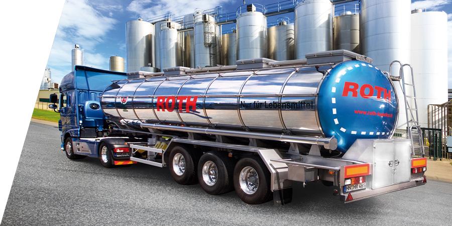 Roth Tankfahrzeug mit Auflieger vor Silos