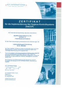 HACCP Hygiene Zertifikat