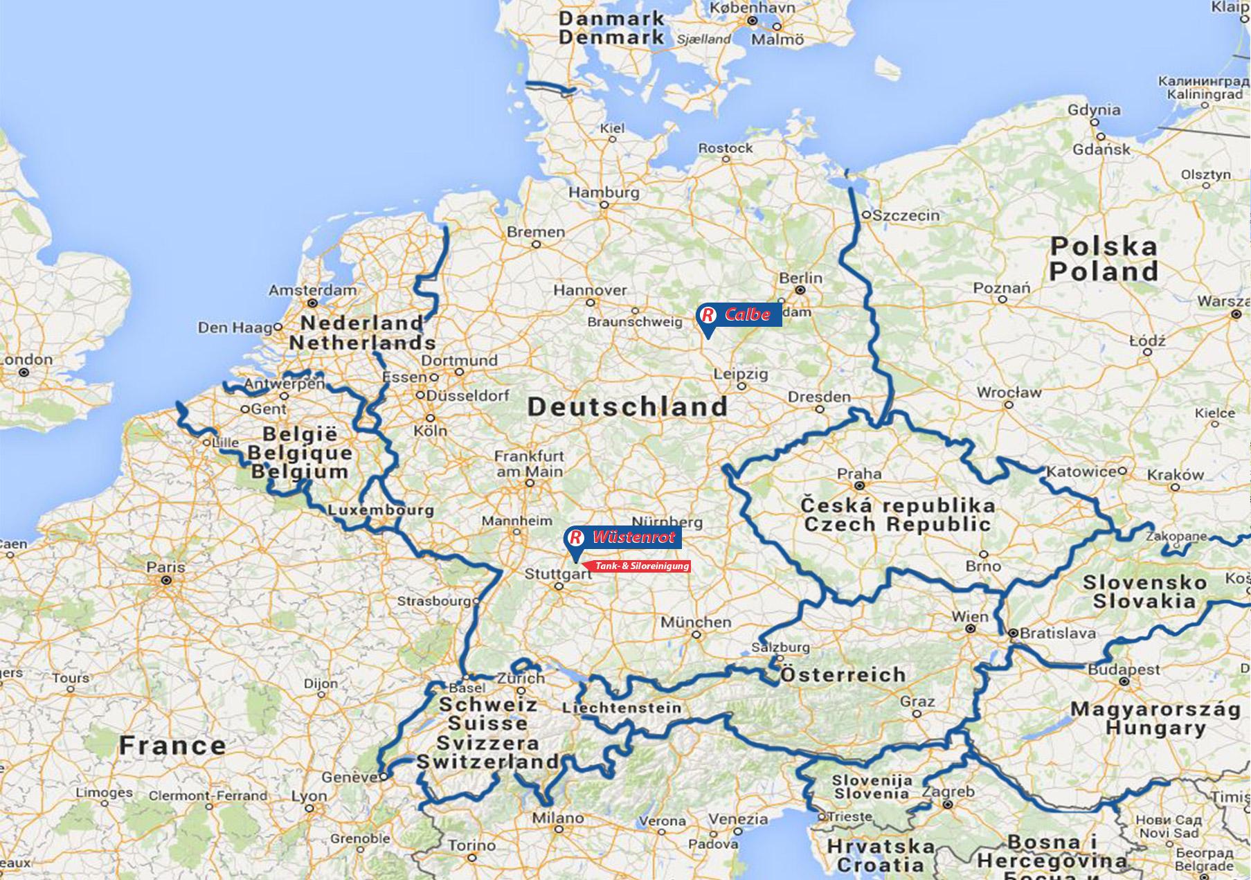 Landkarte - Standorte Roth Logistics